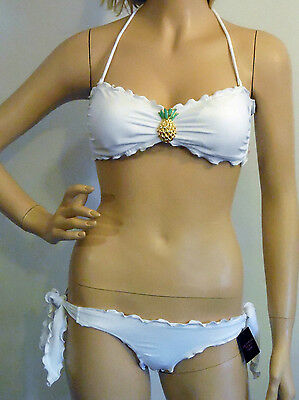 NEW VICTORIA'S SECRET WHITE CRYSTAL EMBELLISHED PINEAPPLE BIKINI SMALL &  XS