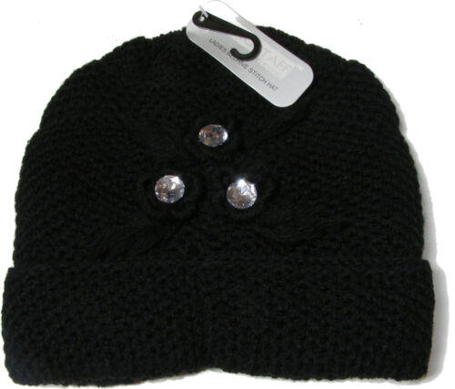 WOMENS LADIES THICK BLACK KNITTED BEANIE HAT WITH FAKE PLASTIC DIAMONDS