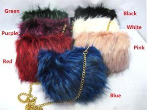 3b168c8416 Womens Ladies Faux Fur Clutch Bag Zipper Furry Purse Shoulder ...