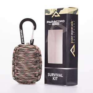 Parapeak-Paracord-Grenade-Survival-Kit-Fire-Starter-Fishing-Tools-Gear-First-Aid