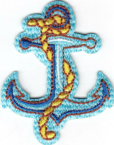 Blue Anchor w//Rope Nautical Iron On Embroidered Patch