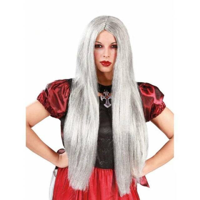 246a3f909 Long Straight Grey Wig Ladies Witch Halloween Fancy Dress Accessory
