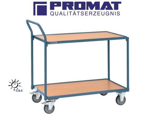 PROMAT Stahlrohr Tischwagen Etagenwagen 2 Etagen L1000xB600mm bis 300Kg tragf.