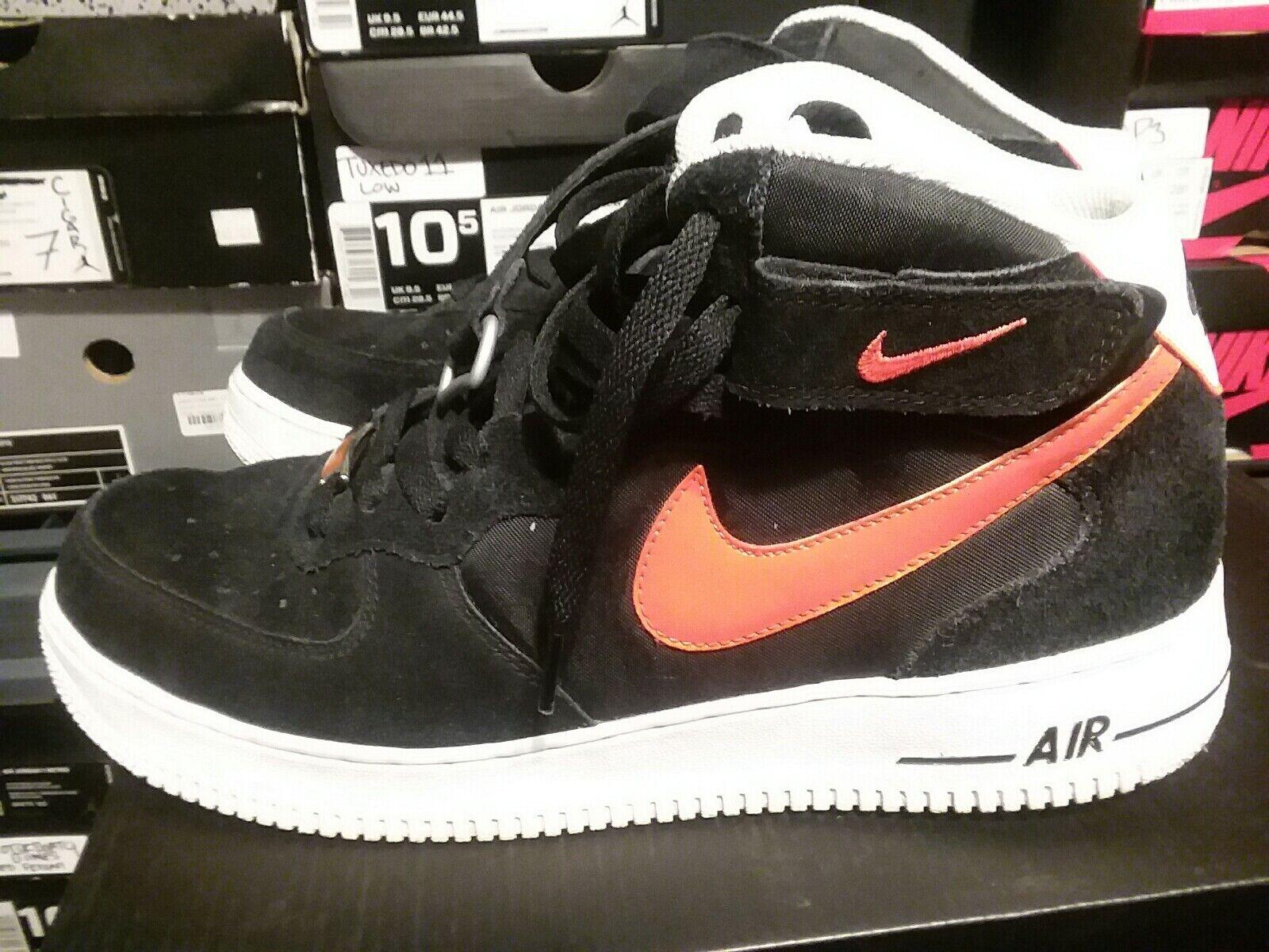 Nike Air Force 1 Mid '07 AF1 Men's  Black Suede orange gold Used