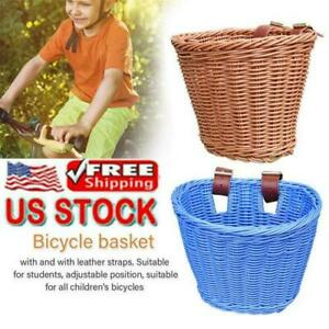 US-Childrens-Wicker-Weave-Front-Bicycle-Bike-Basket-Shopping-Storage-Basket