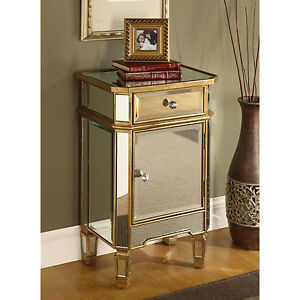 Image Is Loading Mirrored Glass End Table Nightstand Chest Gold Finish