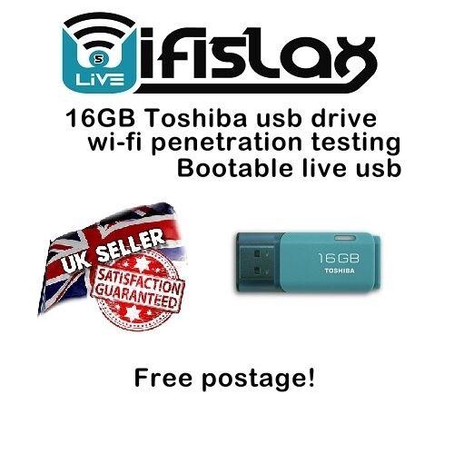 WifiSlax 4 12 16GB TOSHIBA BOOTABLE USB DRIVE WIFI HACKER HACK WEP WPA WPA2