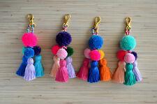 Pompom keychain, bag charm Tassel,  Purse Charm, Handbag charm Tassel clip