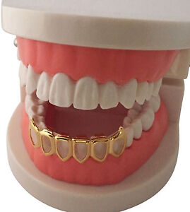Hip Hop 14K Gold Plated Mouth Teeth Grillz Bottom Lower Open Face Fangs 6OF USA