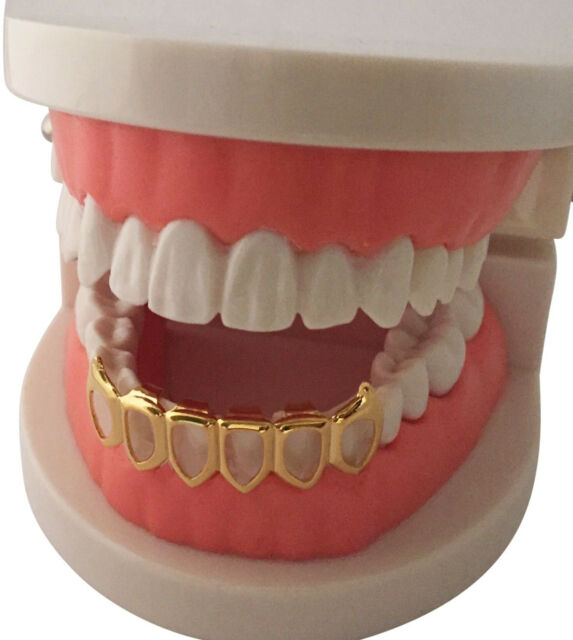 Hip Hop 14K Gold Plated Mouth Teeth Grillz Bottom Lower Open Face Fangs 6OF  USA 34fa0baab230