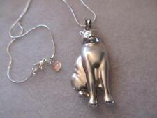 3D Vintage Puffy Kitty Cat Sterling Silver Pendant Necklace