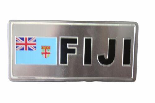 Fidji pays drapeau-Argent Sous Licence Sticker Drapeau plaque.. environ 7.62 cm Taille 6 x 3 in