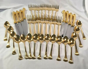Oxford-Hall-Gold-Stainless-Steel-Flatware-54-pieces-8-Place-Settings-Serving