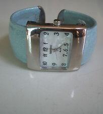 Designer Style Blue Glitter Cuff Bangle Quartz Wrist Fashion Watch