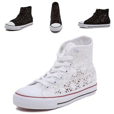 a320cf7229 Scarpe donna Sneakers Alta Casual da Ginnastica Pizzo para zeppa bianca  z9527 | eBay