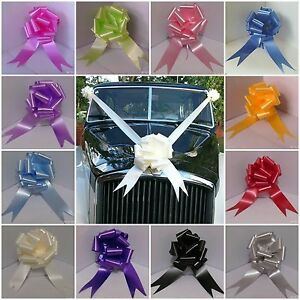 Wedding-Car-Kit-3-Large-50mm-Pull-Bows-amp-7-Metres-2-034-Poly-Ribbon-21-Colours-F-amp-F