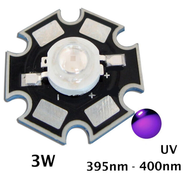 2x Led chip 3w UV 395-400NM 45mil 120-165Lm