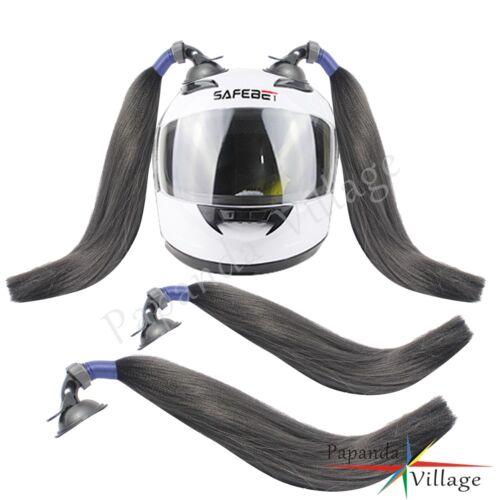 2 Pcs Motorcycle Biker Street Ski Stick On Helmet Pigtails Colorful Ponytail New