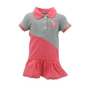 Chicago-Bears-NFL-Infant-Toddler-Girls-Pink-Polo-Cheerleader-Dress-Outfit-New