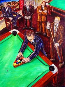 Details About MUSEUM ART Listed Artist Pool Table Art Painting Arthur  Robins NYCart Billiards