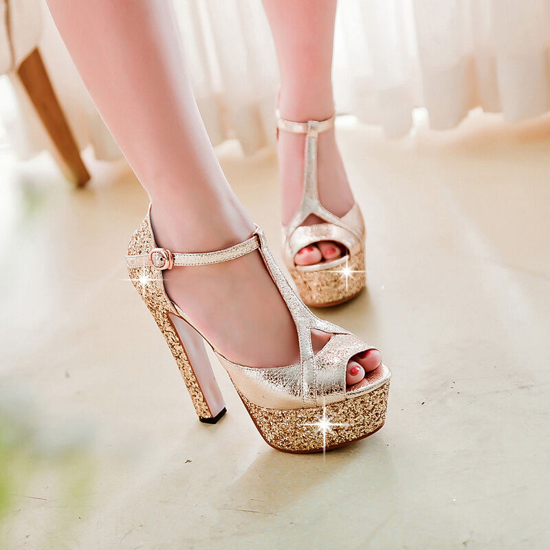 Ladies party Wedding T Strap Platform Peep Toe High Heels Sandals shoes pumps 19