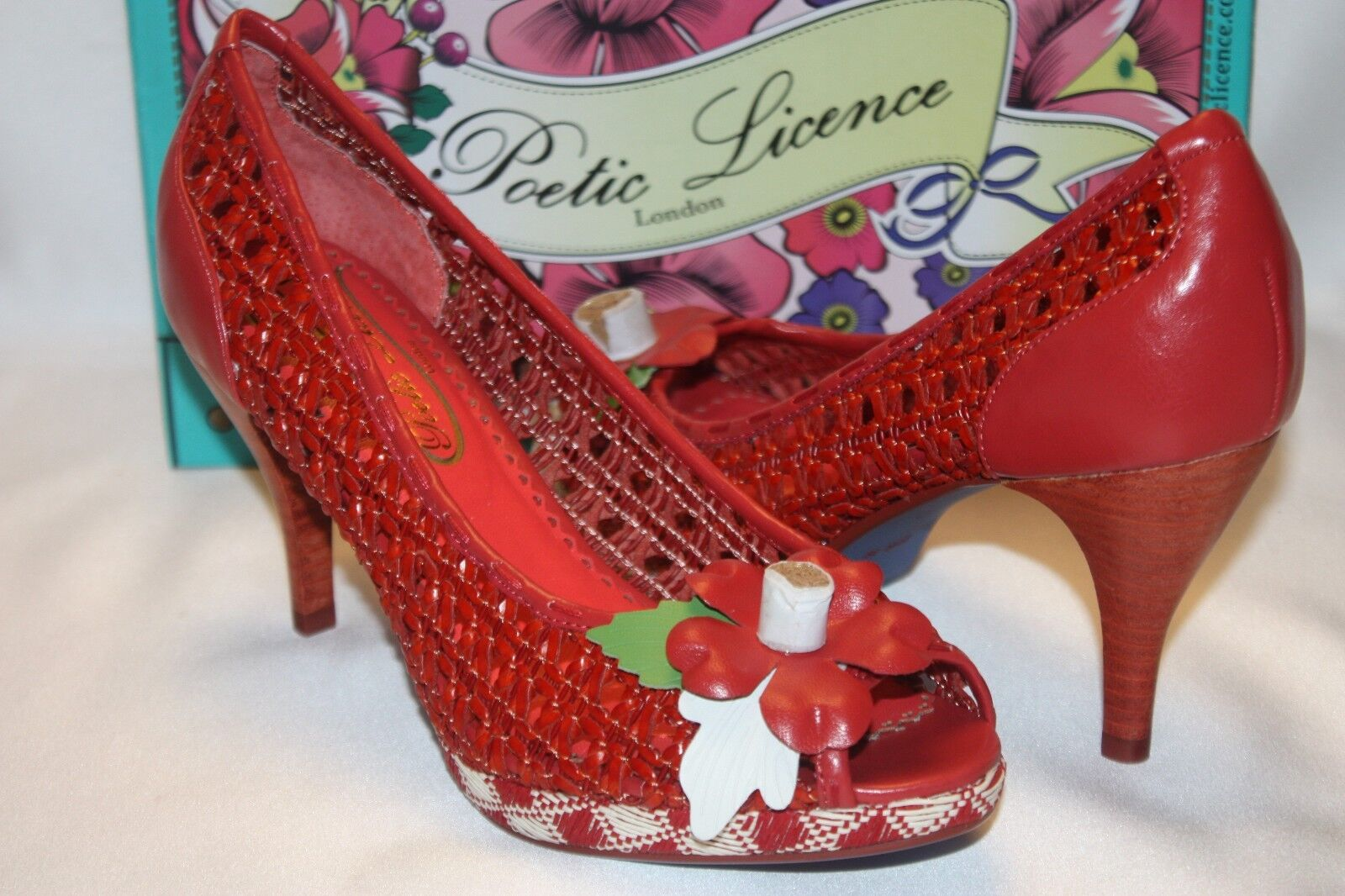 NEW! NIB! POETIC LICENSE Harvest Pumpkin Woven Leather PRICKLY PEAR Pumps 8 $129