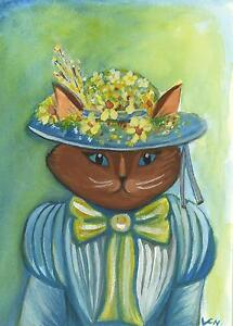 CAT FOLK ART EASTER BONNET VICTORIAN COSTUME HAT LISTED ARTIST ORIGINAL PAINTING