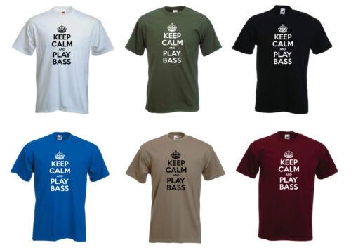 """/""""Keep Calm y jugar bajo/"""" la banda de música Guitarra Eléctrica Camiseta Tee Regalo"""
