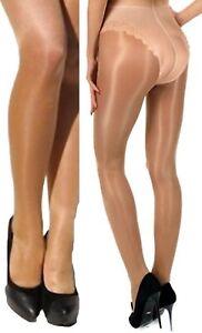 2 Paar Glossy dünne glänzende Satin-Strumpfhose 20 den Bikini-Höschenteil gold