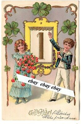 Early 1900 Beautiful Antique Embossed Gilded New Year Postcard Sweden Swedish Ebay