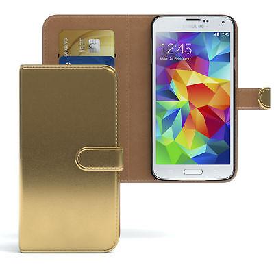 Tasche für Samsung Galaxy S5 / Neo Case Wallet Schutz Hülle Cover Gold