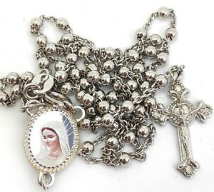 Silver-rosary-925-sterling-silver-13-039-039-from-Medjugorje-BOX