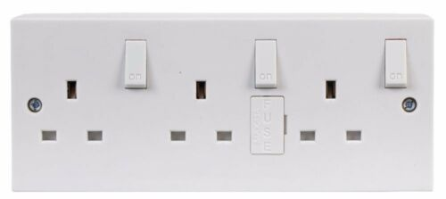 Back Box Electrical Converter Mains Triple 3 Gang Wall Socket Extension Fused
