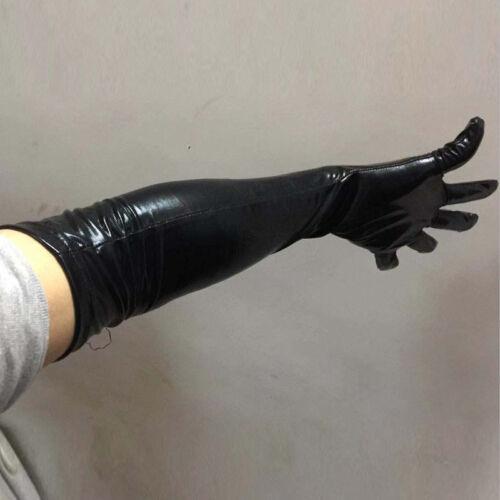 Frau Lange Leder Handschuhe Alle Jahreszeiten Mode Abend Party Voller Finger