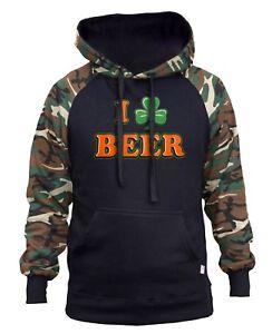 Drink Love Shamrock para Raglan Hoodie Clover hombre Camo Beer I Irish Ireland TBxn8qF8