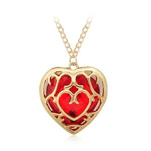 Legend of zelda gold plated hollow heart red heart gem pendant image is loading legend of zelda gold plated hollow heart red aloadofball Image collections