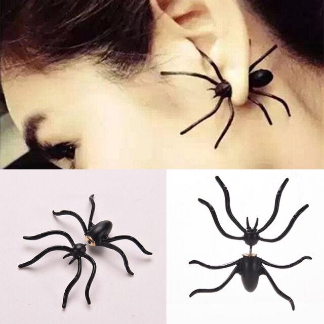 New Retro Women Earings Black Spider Earrings Chic Two Parts Ear Stud ZZ