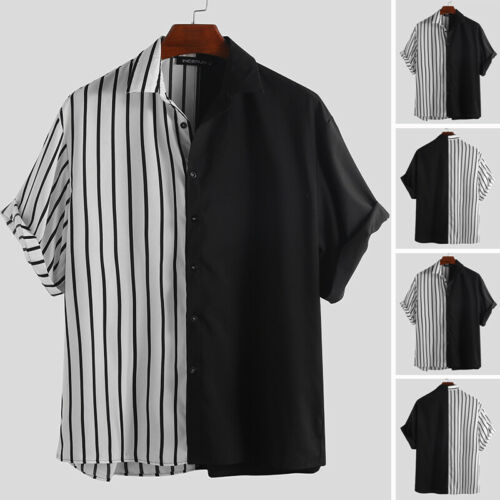 Men/'s Hip Hop Striped Short Sleeved Button Front Shirt Streetwear Oversize Shirt