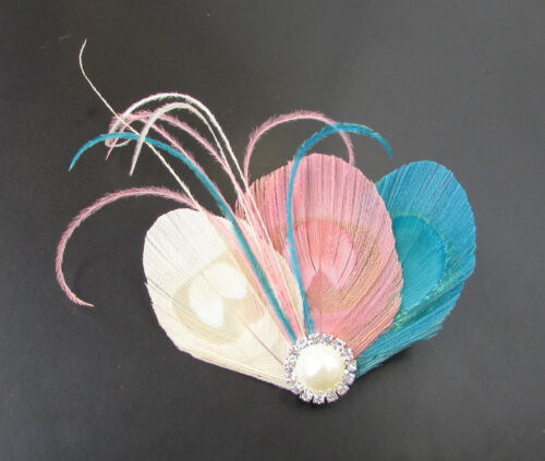 Blush rose bleu ivoire crème argent paon pince à cheveux plume vtg 682