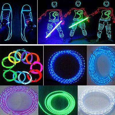 1m-5m Flexible Neon Car Chasing EL Wire Light Lamp Strip Decoration+12V Inverter