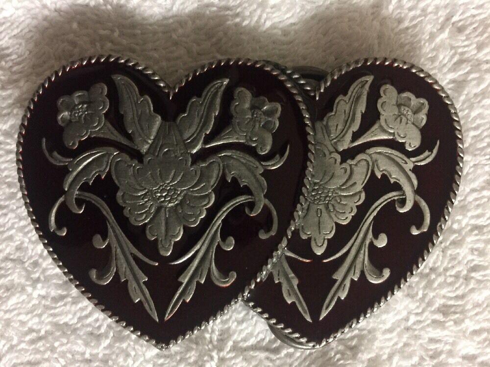 Vtg Women's Hearts + Floral Siskiyou Buckle Co Ashland, Ore. Metal & Enamel Belt