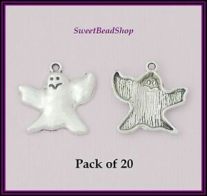 20-Antique-Silver-Colour-24-x-23mm-Ghost-Gothic-Charms-Halloween