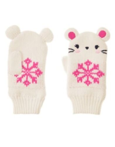GYMBOREE FAIR ISLE FLURRY IVORY MOUSE N SNOWFLAKE SWEATER MITTENS 12 24 4 5 NWT