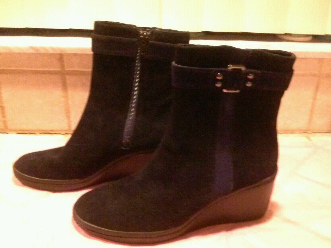 nuevo Anne Klein Nuevo quola Negro Botas Adornado Gamuza Tobillo Botas Negro Zapatos 7.5  99.00 b53ea6