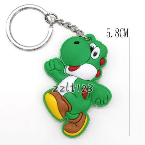 5pcs Mario Luigi Yoshi Toad Peach Rubber Keychain #SM
