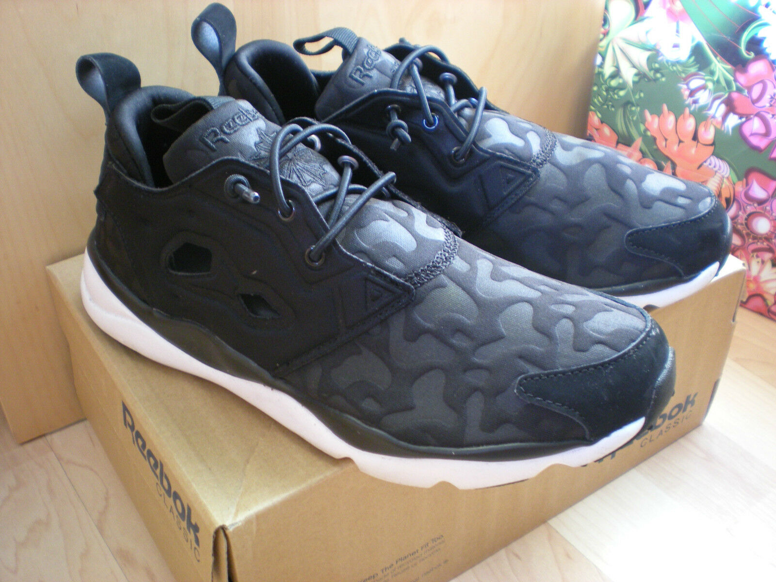 REEBOK FURY LITE Black Graphic Concrete Trainers  Size 5 UK NEW