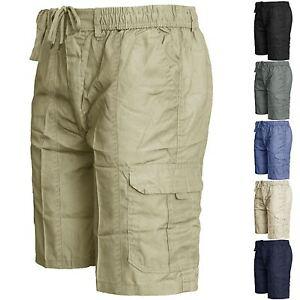 Homme-Taille-Elastique-Cargo-Combat-Plain-Short-Work-Wear-Cotton-Short-poches