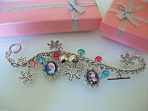 Frozen Elsa And Anna Charm Bracelet Adjustable 2 To 4 Year Gift Box Birthday Jewelry