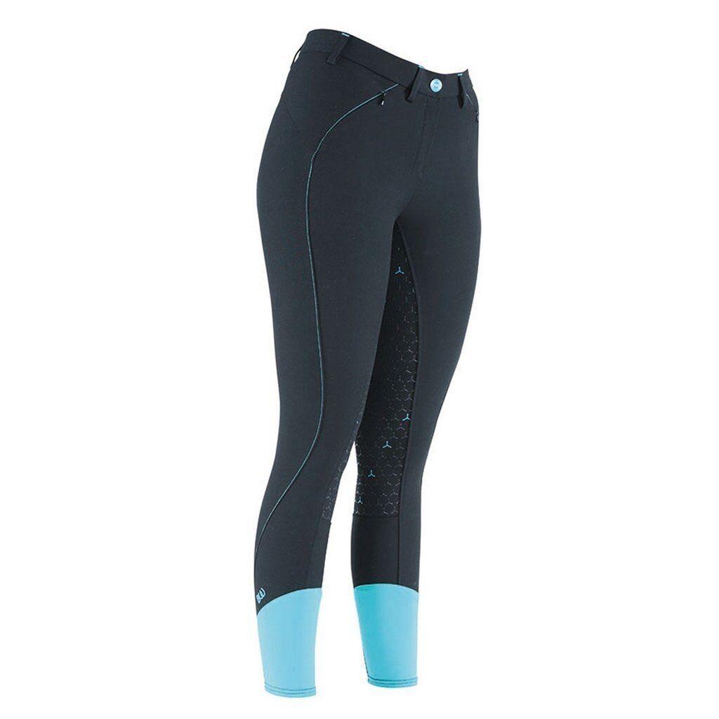 PONTE dinamico Donna Pantaloni Pantaloni Pantaloni da equitazione, Nero Sedile appiccicoso Taglie 26  32 cfd