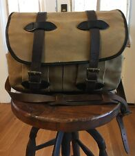 Filson Medium Field Bag Tan w/ Leather Straps Rain-Resistant Travel Fishing USA